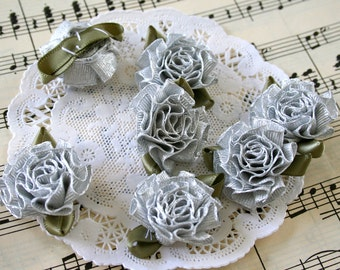 """3/8"""" Millinery Cabbage Roses Metallic Silver"""