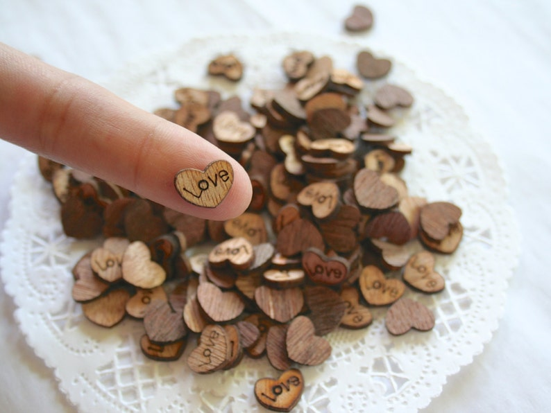 LOVE Wooden HEARTS Confetti Wedding Decor Rustic Tiny Wood image 0