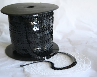 Shiny Solid Black Sequined Trim, 5 Yards