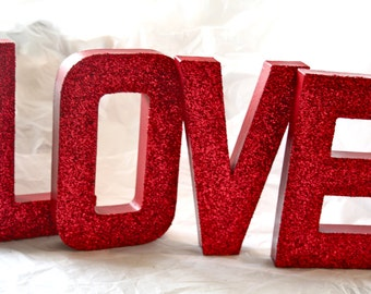 """Glittered """"LOVE"""" Letters, Wedding or Party Decor, Self Standing"""