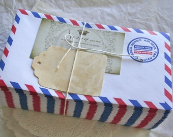 10 Vintage Air Mail Envelopes, Retro Style
