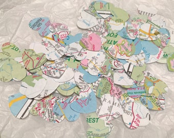 Map Confetti, Atlas Confetti, Destination Wedding