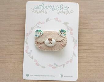Bear felt hair clip set - girl hair clip - baby hair accessories - hair clips - hair accessories - animals hair clip - bow - ready to ship
