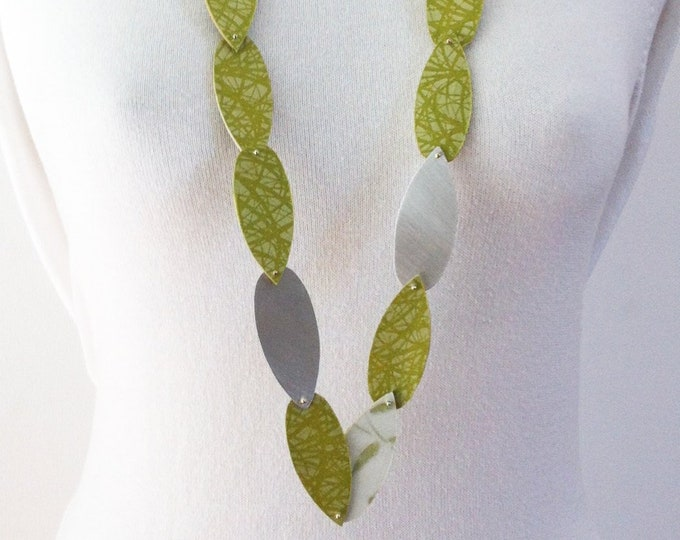 Statement long necklace -Wood jewelry- paper and aluminum - double side necklace - japanese paper - fabric ribbon  - green - gift for her