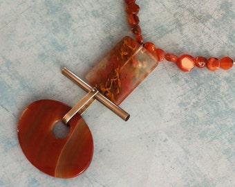 Statement orange agate necklace - bold agate pendant - geometric gemstone necklace