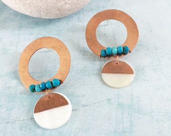 Open circle copper earrings with turquoise - stud circle and drop mother of pearl earrings