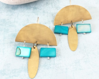 Statement half moon brass earrings - geometric turquoise pendant earrings - boho chic gold earrings