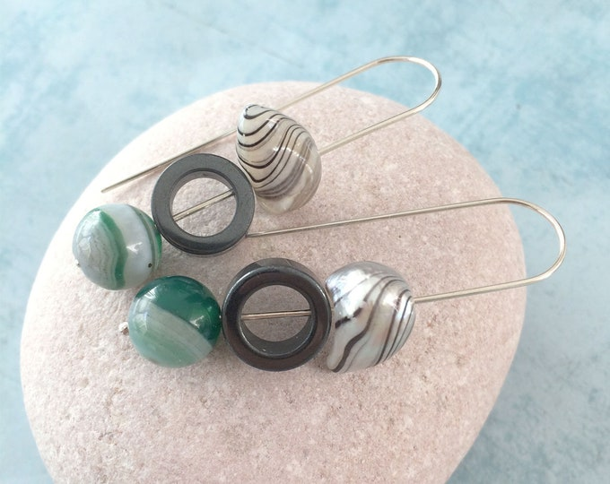 Mixed gemstone earrings - long hook earrings - sterling silver - freshwater pearls - hematite - agate - modern unique stone jewelry gift
