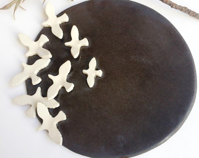 Modern decorative ceramic bird plate - wall plate with flying birds - dark brown stoneware - rustic ceramic wall decor - housewarming gift