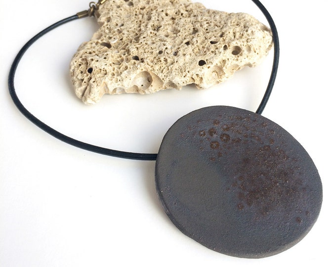 Big circle pendant necklace - statement ceramic necklace - large circle medallion - ceramic jewelry - stoneware - maximize jewelry gift