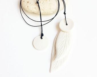 Long porcelain leaf pendant necklace - minimalist white ceramic necklace