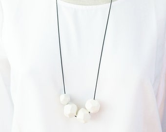 Minimalist porcelain necklace with faceted beads - long white porcelain necklace - simple ceramic necklace - modern ceramic jewelry gift