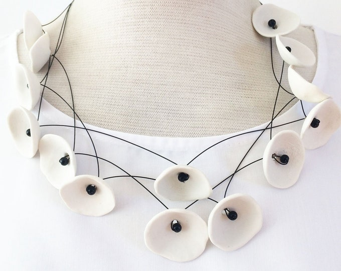 Statement white porcelain necklace - modern ceramic necklace - contemporary ceramic jewelry - multi strand ceramic necklace - gift for her