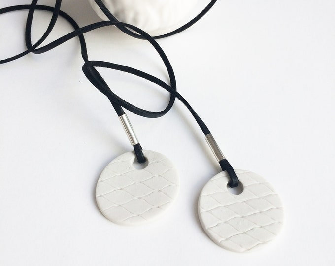 Long wrap necklace - minimalist ceramic circle necklace - white porcelain jewelry - modern ceramic jewelry - snake pattern - gift for her