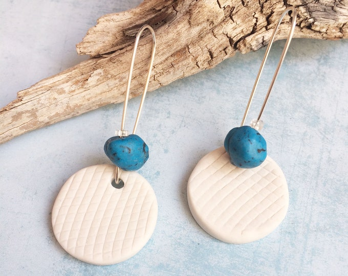 Porcelain circle earrings with turquoise stone - sterling silver - porcelain jewelry - statement ceramic earrings - modern ceramic jewelry