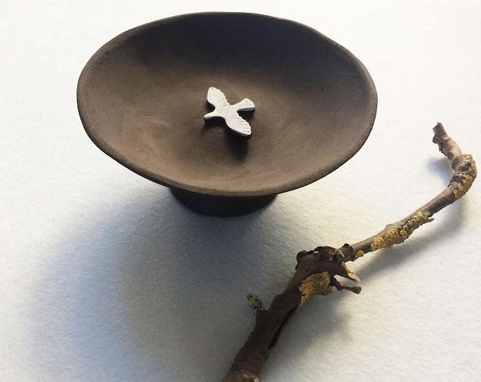 Ceramic pedestal dish - jewelry dish - bird ring dish - dark brown stoneware - decorative bowl - ceramic plate handmade - rustic home decor