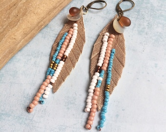 Gold leather feather earrings - boho earrings - fringe earrings - beach jewelry - tropical vibes - mother of pearl -seed beads -gift for her