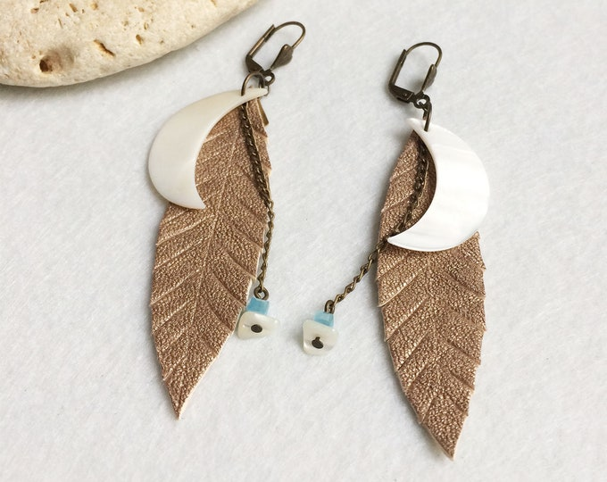 Gold leather leaf earrings - tribal moon earrings - boho feather earrings - crescent moon - bohemian jewelry - mother of pearl -gift for her