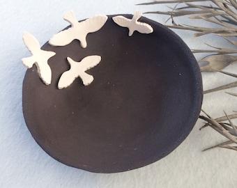 Ceramic jewelry dish - small bird ring dish - dark brown stoneware - decorative bowl - ceramic plate handmade - rustic home decor