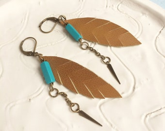 Boho leather leaf earrings - feather shape earrings - tribal brown and turquoise earrings - bohemian  jewelry - gift for her