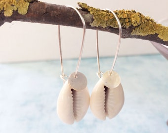 Cowrie shell earrings - sterling silver - seashell earrings - boho jewelry - ocean jewelry - beach wedding - gift for her - mother of pearl