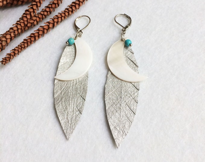Silver leather leaf earrings - tribal moon earrings - boho feather earrings - crescent moon - beach jewelry - mother of pearl - gift for her
