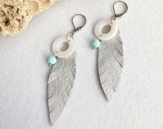Silver leather leaf earrings - boho feather earrings - tribal earrings - mother of pearl - bohemian jewelry - leather jewelry - gift for her