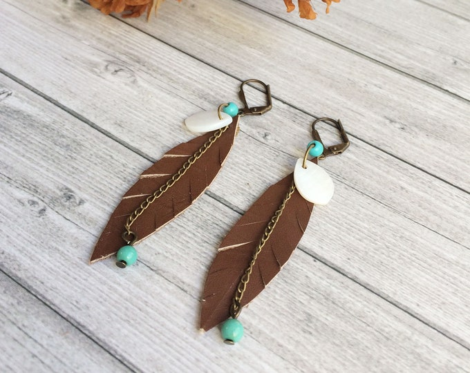 Brown leather feather earrings - boho earrings - chain and beads earrings - beach jewelry - mother of pearl - gipsy earrings -gift for woman