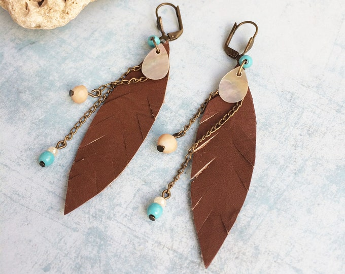 Brown leather feather earrings - boho leaf earrings - chain and beads earrings - bohemian jewelry - leather jewelry - gift for woman