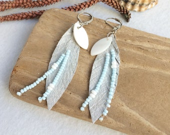 Silver leather leaf earrings - boho beaded fringe earrings - leather and mother of pearl