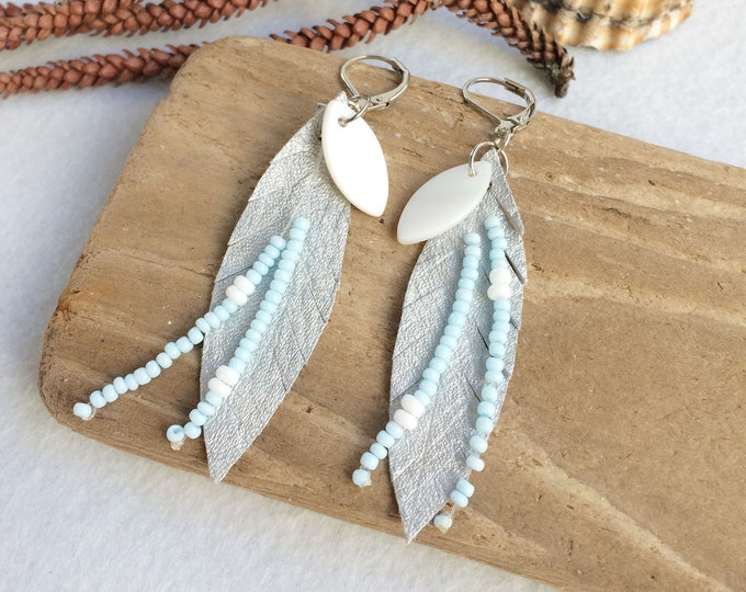 Silver leather leaf earrings - boho beaded fringe earrings - bohemian feather jewelry - leather and mother of pearl - jewelry gift for her