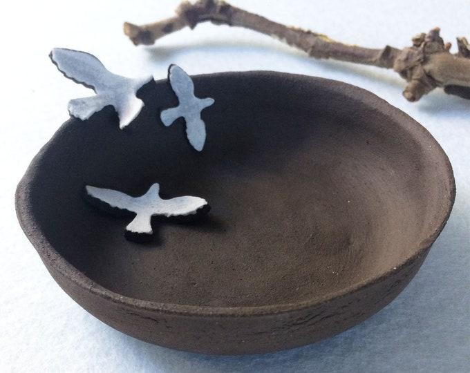 Ceramic bird bowl - jewelry dish - dark brown stoneware - small decorative bowl - ceramic ring dish - rustic home decor - housewarming gift