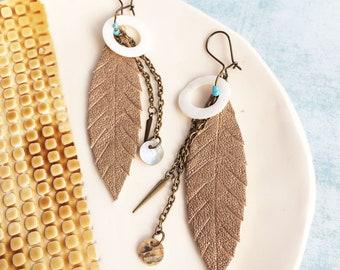Gold leather feather earrings - boho leaf earrings - tribal earrings