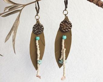 Leather feather earrings - bohemian leaf earrings