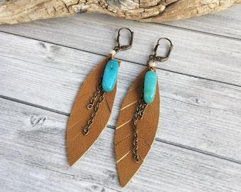 Leather feather earrings - boho earrings - turquoise brass earrings