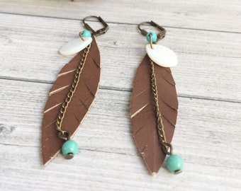 Brown leather feather earrings - boho earrings - chain and beads earrings