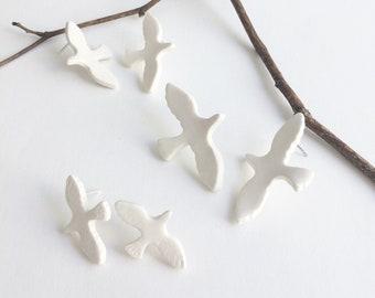 Porcelain stud bird earrings - flying bird ceramic earrings