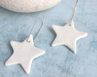 White ceramic big star earrings - statement ceramic earrings - white porcelain and silver jewelry - modern ceramic jewelry - gift for her