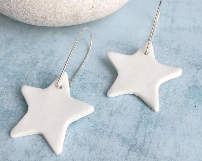 White ceramic big star earrings - statement ceramic earrings