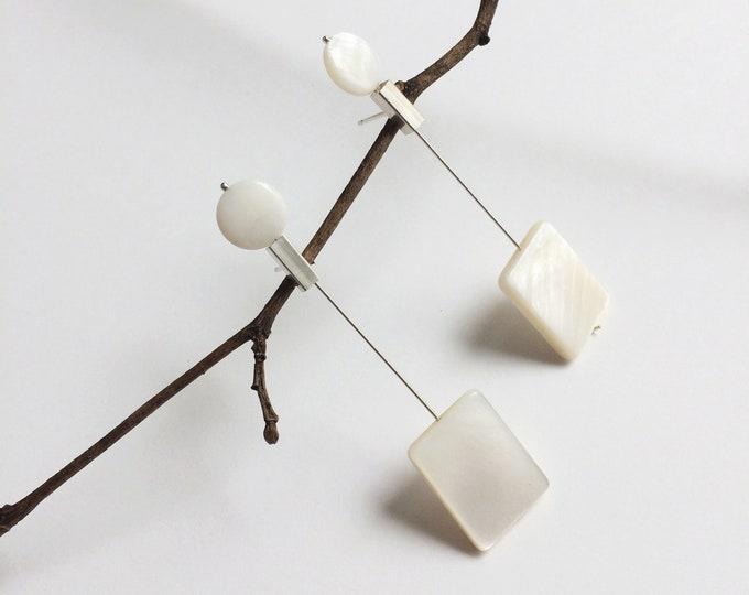 Bar rectangle earrings - statement geometric silver earrings - long mother of pearl earrings - minimalist modern pearl jewelry -gift for her
