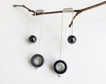 Long mobile bar earrings - hematite stone - statement geometric earrings - modern silver earrings - contemporary jewelry - gift for her
