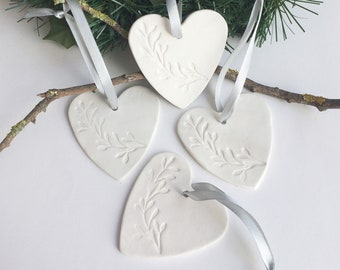Set of 4 Porcelain heart ornament for christmas tree - decorative ceramic hearts to hang - holiday home decor - house warming gift for mom