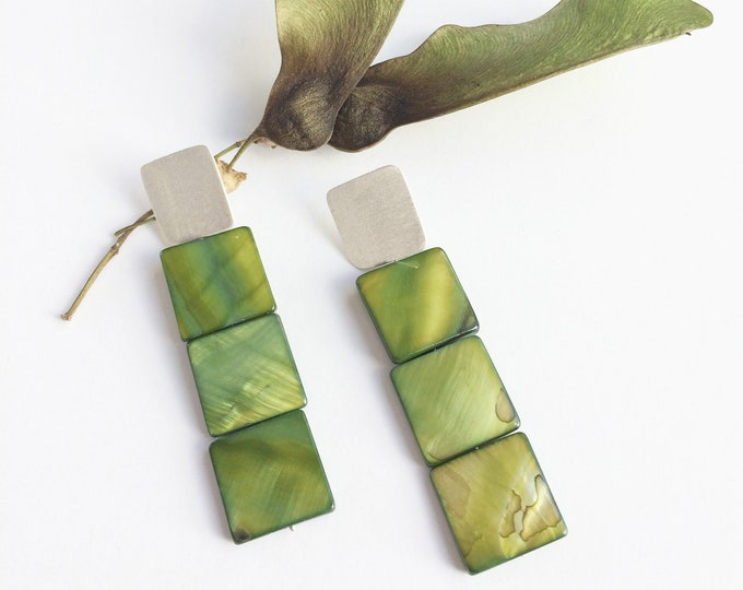 Statement square drop earrings - modern green shell earrings - silver geometric stud earrings - contemporary jewelry  gift for her