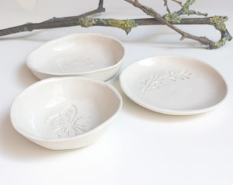 Modern jewelry dish set - small trinket dish - nature ring holder - modern rustic ceramic