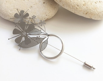 Statement silver floral brooch - modern brooch bouquet - flower steel pin