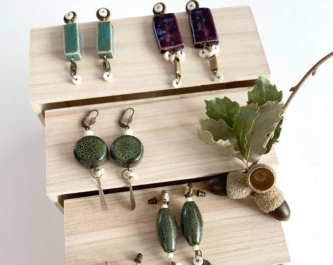 Long dangle ceramic boho earrings , statement big bead earrings
