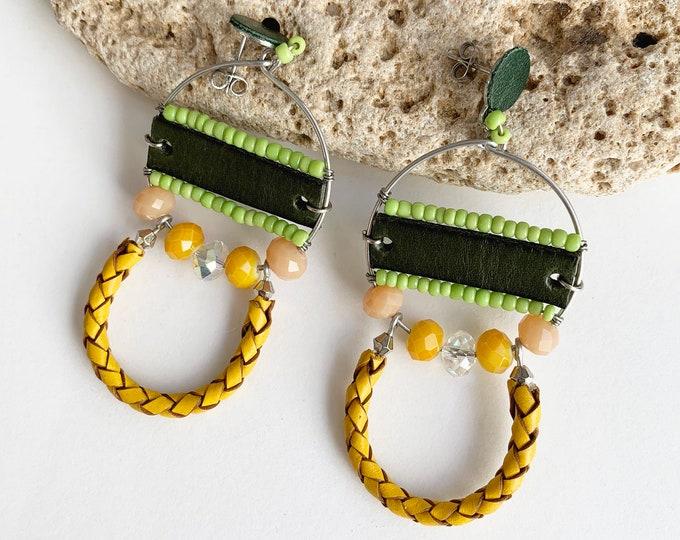 Statement tribal earrings - mix leather half moon earrings