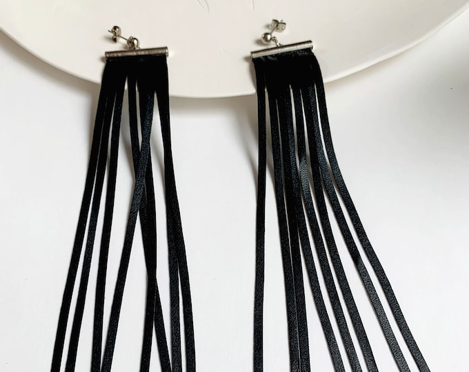 Extra long fringe earrings - tassel faux leather earrings - statement modern earrings - faux leather jewelry - gift for her
