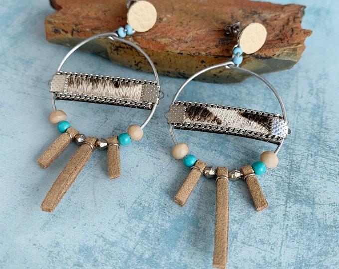 Boho dangle hoop earrings - statement tribal hoops