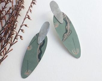 Statement floral earrings - modern paper earrings